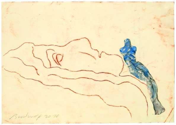 »Blaue Figur auf Felskopf sitzend«
