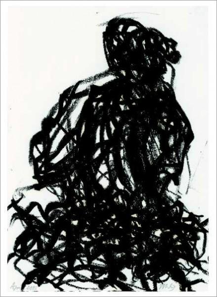 »Rückenansicht einer weiblichen Halbfigur hinter einer Parkhecke (Park der Villa Massimo)«